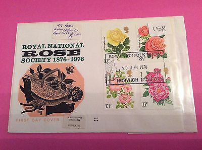 FIRST DAY COVER DATED 30th JUNE 1976 CENTENARY OF THE NATIONAL ROSE SOCIETY