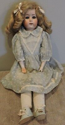 """Antique 23"""" Gobel Bisque Doll With Leather Body-Eyes Open/Close"""