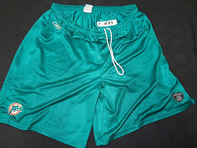 #21 Miami Dolphins Game Used Teal Practice Shorts Size-2Xl
