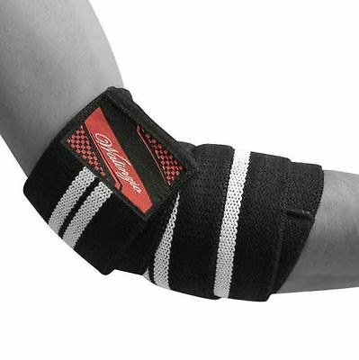 Heavy Duty Elbow Sleeves Support Wraps Gym Power Weight Lifting Strap White Pair