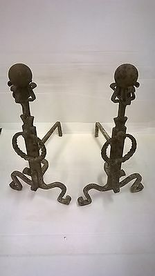 HUGE vintage Forged Iron Fireplace  Ball Top Andirons.  rare spiral ring antique