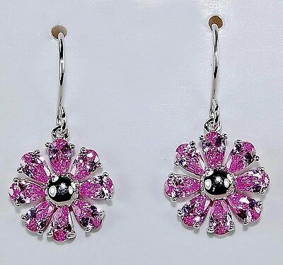 2CT Pink Sapphire 925 Solid Genuine Sterling Silver Earrings