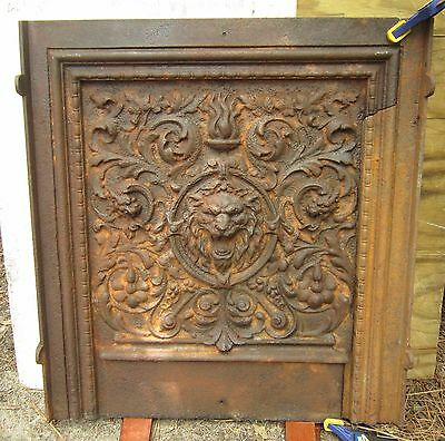 Antique Fireplace Fireback Lion Griffith Cast Iron Mantel Panel Gothic Rare Cat