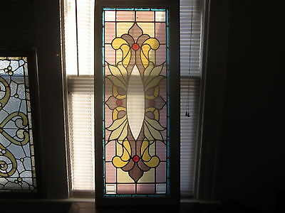 c.1910 nice Antique Stained Glass Combination Window w/ bevels