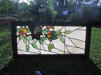 c.1910 Victorian Antique Stained Glass Transom Window, fruit, 2 small cracks