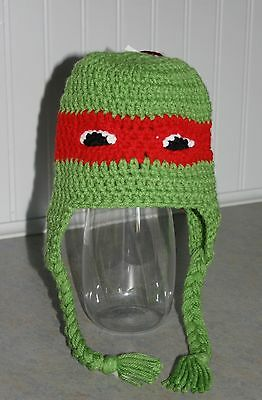 Ninja Turtle Hat-RED-2 years and up- Toddler Kids Handmade Crocheted Hat