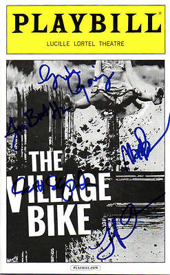 Autographed Village Bike Playbill signed by cast - Greta Gerwig, Max Baker