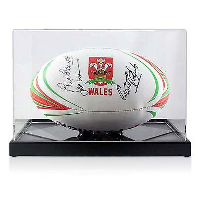 Wales Rugby Ball Signed Gareth Edwards JPR Williams Phil Bennett Display Case