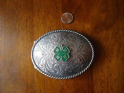 Belt Buckle 4H Silver Tone 4 X 3 inches NICE SIZE