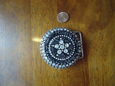 Belt Buckle Star Beaded and Rhinestones approx 2 5/8 inches round