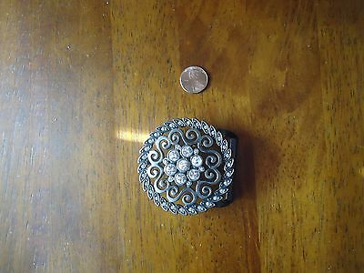 Belt Buckle Decorated with Rhinestones approx 2.5 inches round