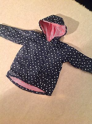 Mamas Girls And Papas Blue And White Spotty Raincoat With Hood 18-24 Months