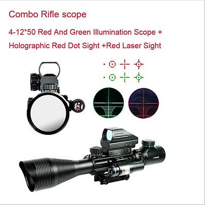HOT 4-12X50 EG Tactical Rifle Scope Sight with Holographic 4 Reticle Red Laser