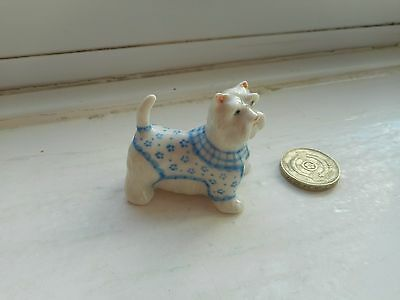 West Highland White Terrier -  Miniature Pottery Westie In Blue & White Coat
