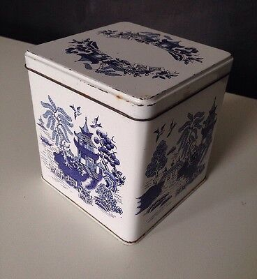 Baret Ware chinese willow pattern tin white blue chinoiserie tea caddy lid