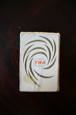 Playing Cards Spielkarten Twa Trans World Airlines Nu-Vue Gold On White
