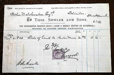 Receipt for Advertising in Manchester Courier – Thos. Sowler & Sons  (Le1)