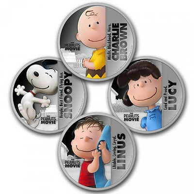 1oz SILVER PLATED COIN SET THE PEANUTS MOVIE CHARLIE BROWN, SNOOPY, LUCY & LINUS