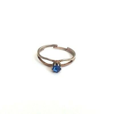 Vintage Blue Rhinestone Silver Tone Metal Women's/Child's Ring Size 5.5 Adj.