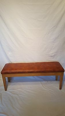 Mid Century Vinyl Bench Seat Stool Cafe Bar G Plan Teak Vinyl School Hospital