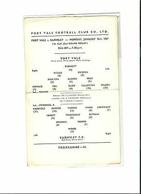 1966/67 Port Vale v Barnsley  FA Cup Second Round Replay