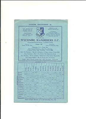 1959/60 FA Cup 1st Round  WYCOMBE WANDERERS  V  WISBECH TOWN