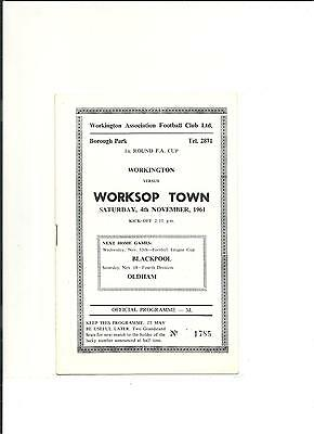 1961/62 FA Cup  1st round proper  WORKINGTON  V  WORKSOP TOWN
