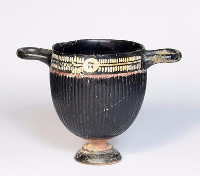 Ancient Greek South Italian Gnathian skyphos: 4th century BC (repaired).