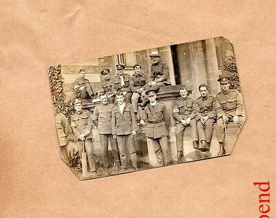WW1 British Soldiers posing outside building real photo .  unposted B2