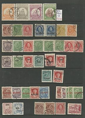 Over 40 Early Crete Stamps Unhinged Displayed On Stock Card.