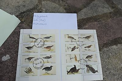 2X sheets of 1974 NAGALAND postage stamps philately mail postal / bird theme