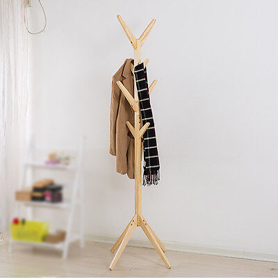 8 Hooks Natural Coat Hat Bag Clothes Rack Stand Tree Style Hanger Wooden Stand