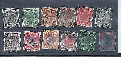 Straits Settlements stamps. George V 1936 used lot. (Y238)