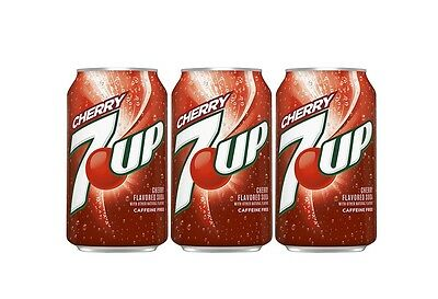 Original Pack of 12 7UP Cherry 355ml Cans Flavor American Soft Fizzy Drink Soda