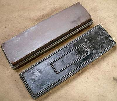 Vintage Oil Stone Sharpening Stone With Cast Iron Case