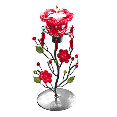 Evelots Rose Tea Candle Holder Stand Centerpiece, Decorative Gifts & Decor, Red