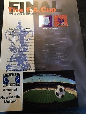 Arsenal v Newcastle United 1998 F A cup final programme