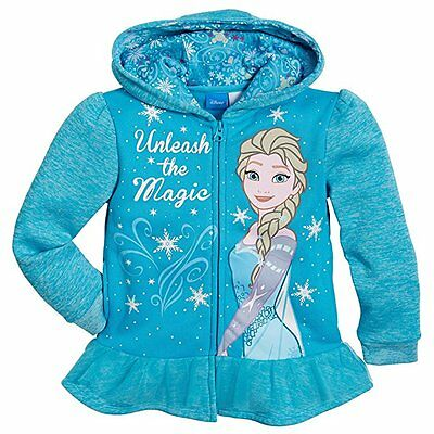 Disney Frozen Elsa Little Girls Zip-Up Fleece Hoodie Blue US Size 6X NWT