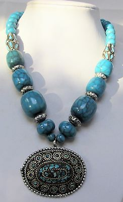 Stunning large vintage bead necklace (silver metal & turquoise mosaic pendant)