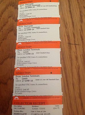 travel tickets 1 adult 1 child harrogate to london 16/12, london to leeds 17/12