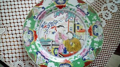 pearl ware plate hand painted chinese scene must see.