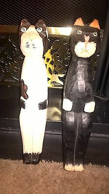 Vintage Wooden Sitting Shelf Cats Hand Carved & Painted Black & White Adorable