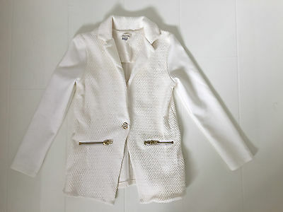 River Island Girls–Ivory /off White Jacquard Jersey Blazer Jacket–9/10 Yrs 140Cm