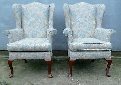 PAIR of Parker Knoll 1140 wing back armchairs