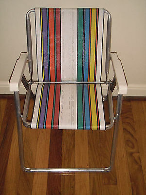 Vintage Child Size Aluminum Web Folding Lawn Chair Camping Deck-Very Nice