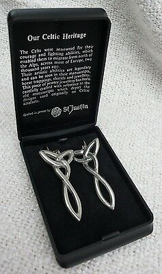 Pair pewter, celtic style earrings St Justin in box