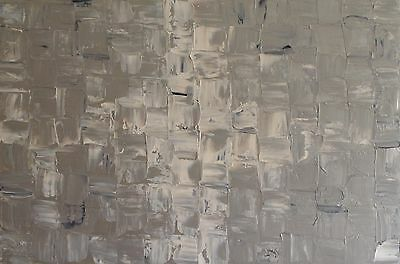 LARGE ORIGINAL ABSTRACT CONTEMPORARY MODERN SILVER PAINTING 90x60cm box canvas