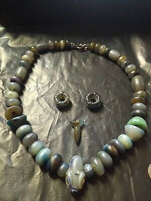 pre columbian necklace agate snake pendant pair of earspools and lip ornament