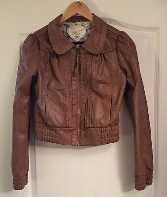 Brown Dunnes Leather Jacket Girls 33/34 Inch Chest