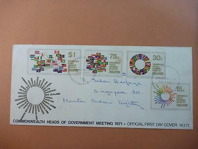 Singapore Commonwealth Heads of Government Meeting FDC 1971